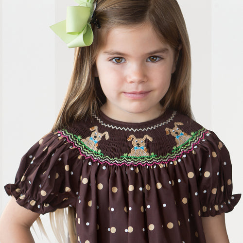 Puppy Time Brown Polkadot Smocked Bishop 15F 5683 A