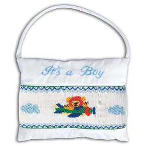 It's a Boy Airplane Smocked Mini Pillow 5765 AP