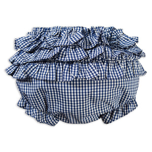 Royal Blue Gingham Girl Ruffled Diaper Cover 16SP AYR 5779 DCG RBL