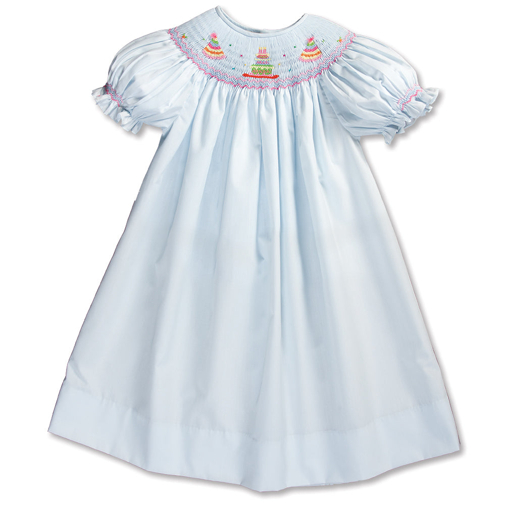 Birthday Party Cake Lt. Blue Smocked Bishop 16SP AYR 5783 A LBL