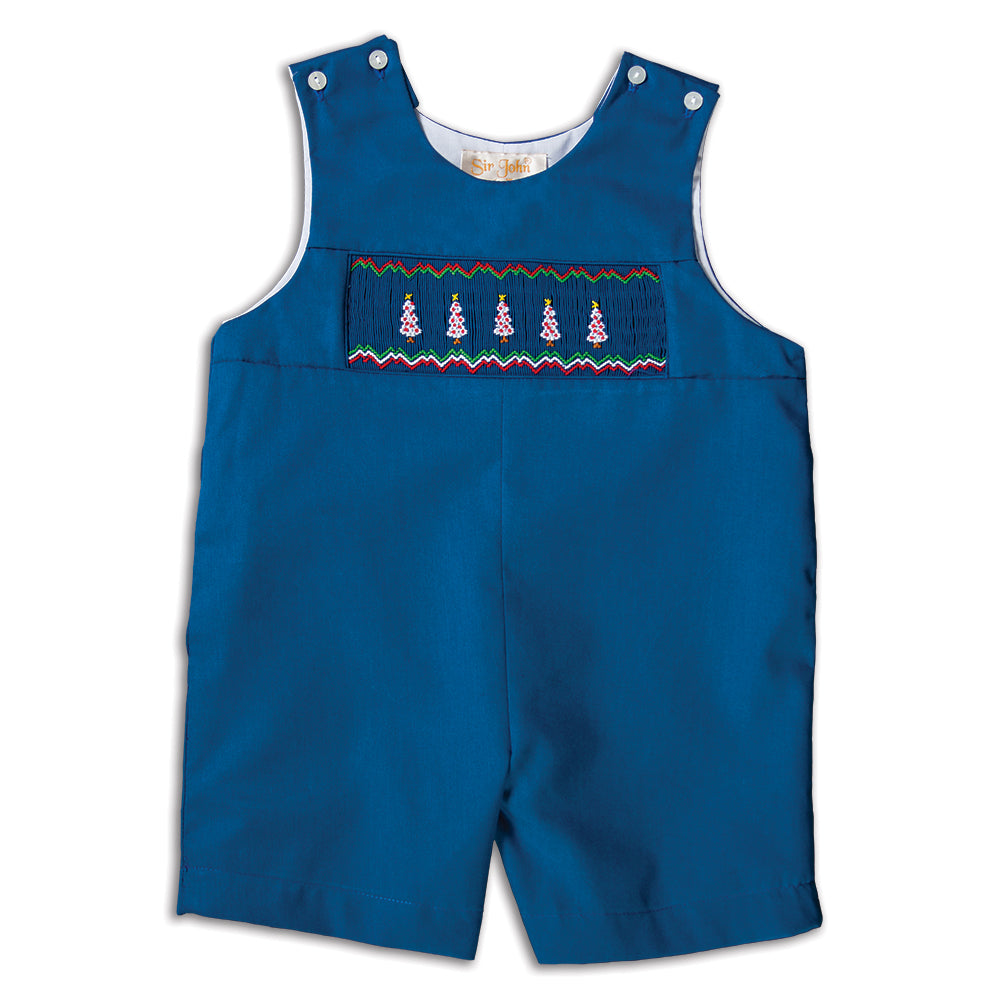 White Christmas Trees Royal Blue Smocked Romper 16H 5811 R