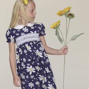 Navy Blue Floral English Smocked 100% Cotton Baby Dress 17SP 5813 D
