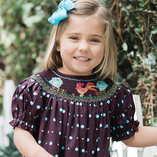 Rooster & Barns Maroon Multi-Dot Smocked Bishop 16F 5820 A