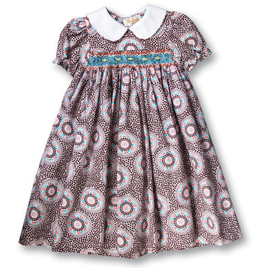 Brown & Pink Dotted Swirl Smocked Baby Dress w/Peter Pan Collar 17F 5825 D