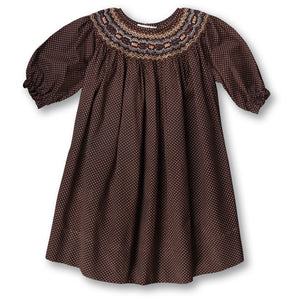 Dark Brown 3/4 Sleeve Dotted English Smocked Bishop 17F 5828 B