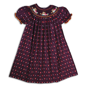 Nesting Owls Maroon Multi-Dot Smocked Bishop 16F 5829 A