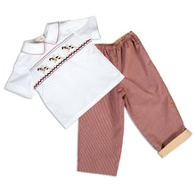 Puppy Run Trio Burgundy Tiny Check Smocked Shirt and Pants Set 16F 5837 SP