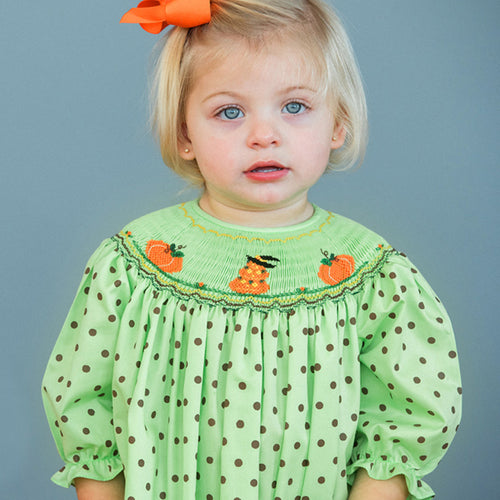 Jack-o-Lantern Pumpkins Apple Green Brown-Dot 3/4 Sleeve Smocked Bishop 16F 5841 B