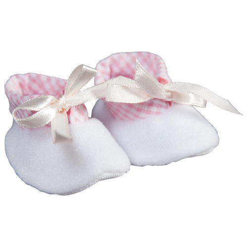 White Fleece & Pink Gingham Doll Shoes 5850