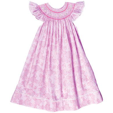 Pink Bubbles English Smocked Angel Sleeve Bishop w/RicRac 17SP 5856 A