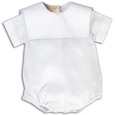 Boy White Bubble Square Collar w/Lt. Blue Trim 15AYR 5862 BUB