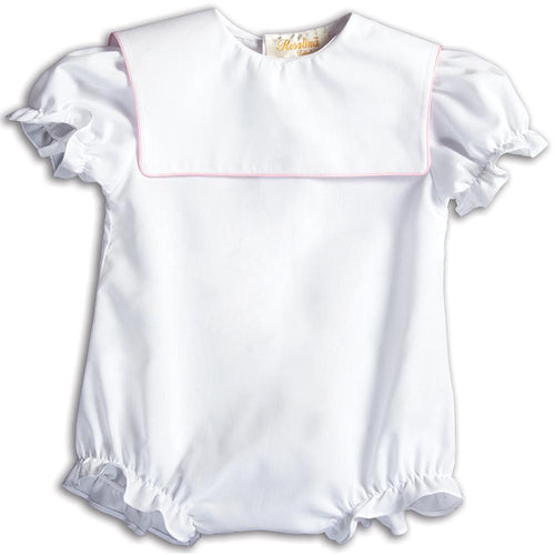 Girl White Bubble Square Collar w/Lt. Pink Trim 15AYR 5862 BUG