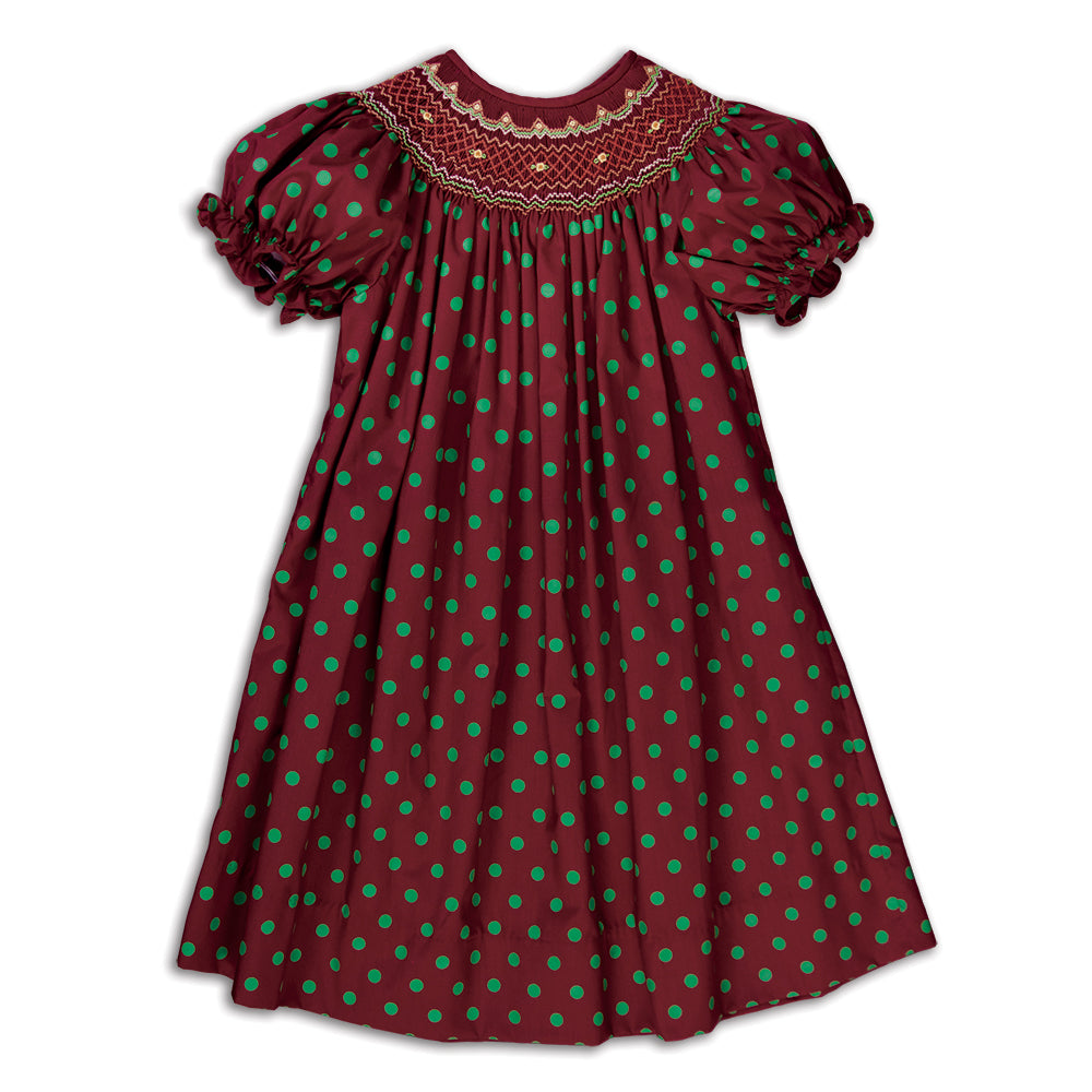 Maroon Green-Dot English Smocked Bishop 16F 5886 A