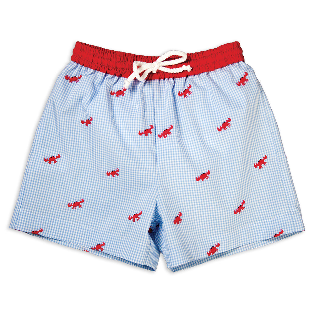 Red Crabs Blue Gingham Embroidered Boy Swim Shorts 16SU 5893 SW1B