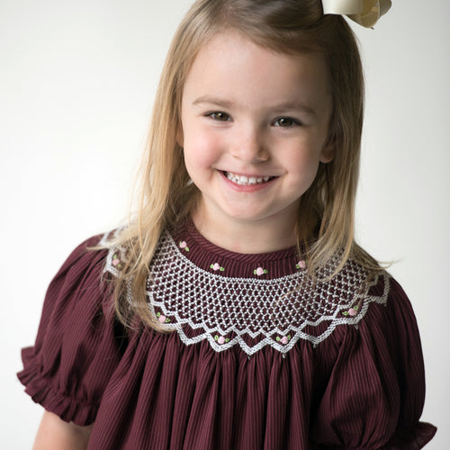 Maroon Pinstripe English Smocked Bishop 17F 5899 A