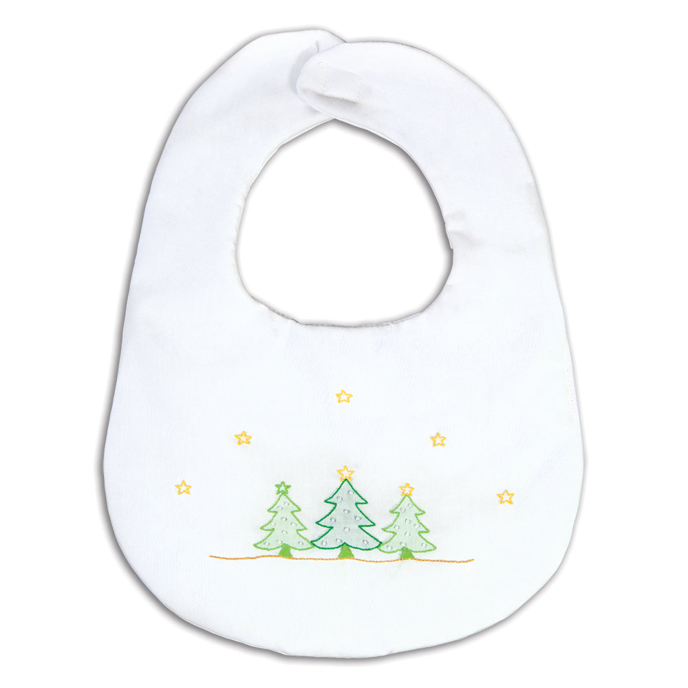 Christmas Trees Shadow Embroidered White Bib 16H 5906 BIB