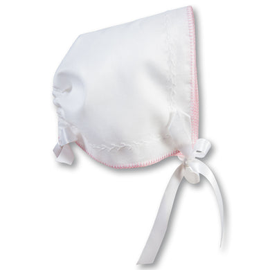 Michelle White Hankie Bonnet with Pink Trim AYR 5910 PK