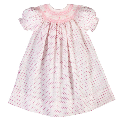 Amelia Pink Fuchsia Dot English Smocked Bishop 18SP 5924 A