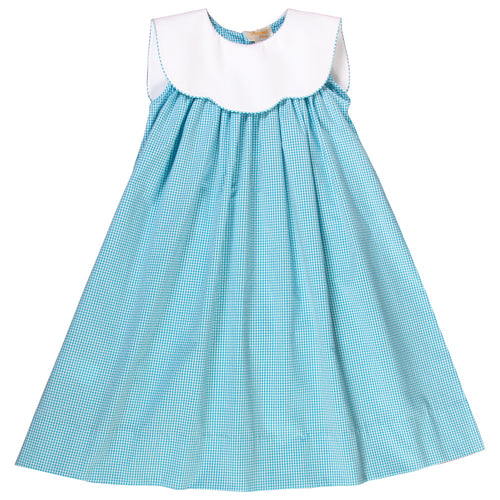Turquoise Seersucker Sundress w/White Collar 17SU AYR 5944 SD TQ