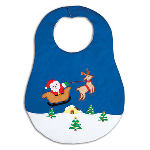 Flying Santa Sleigh & Rudolph Rich Blue & White Bib 16H 5960 BIB