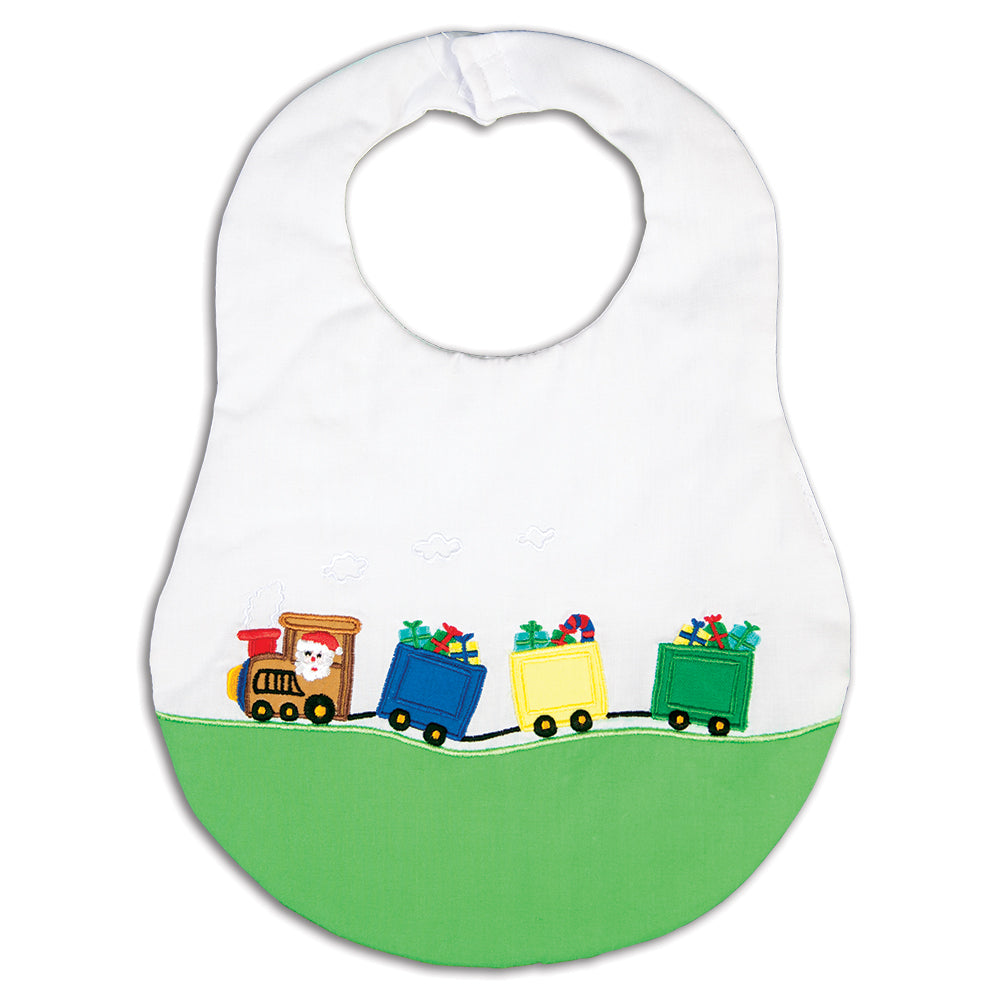 Santa Present Train White & Green Bib 16H 5963 BIB