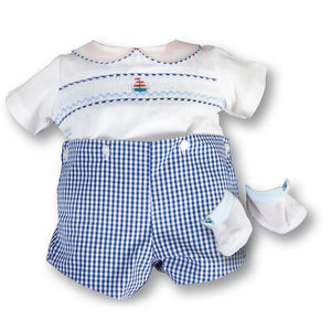"Sailboat Doll Smocked 20"" Blue Gingham Short Set w/Shoes 16AYR 5985 DD"