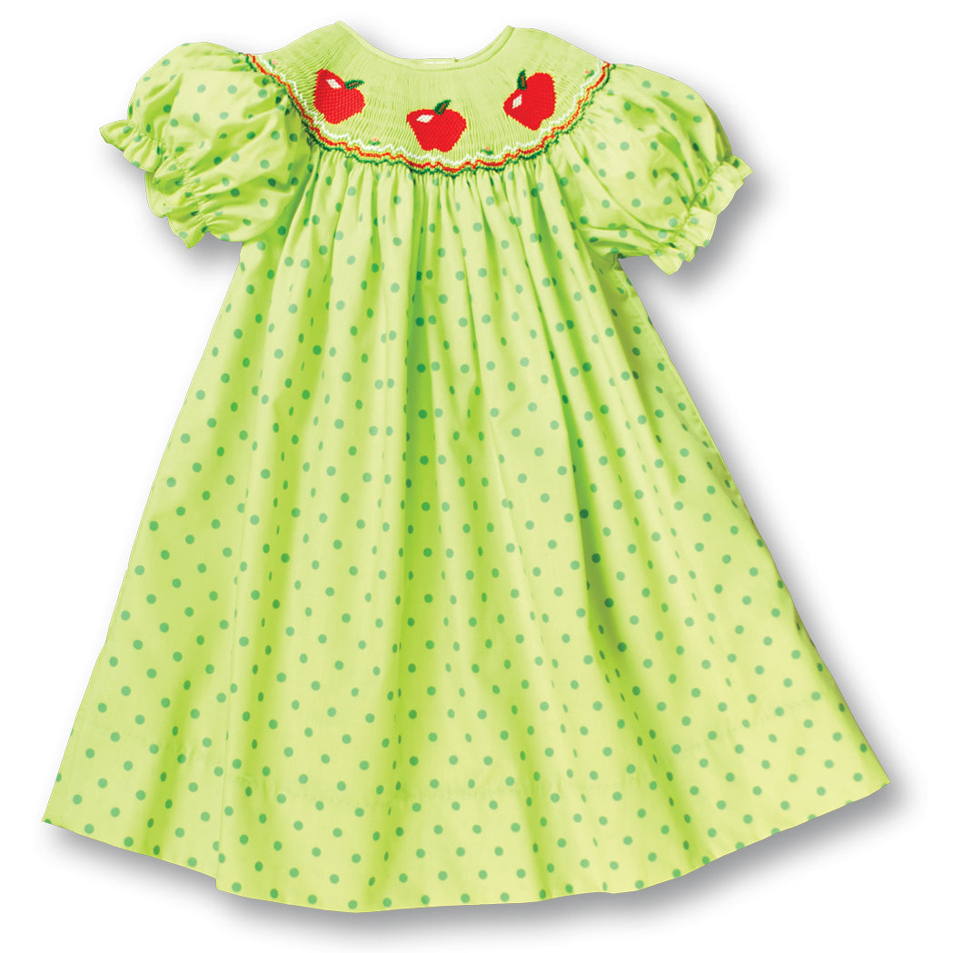 3 Apples Apple Green Polka Dot Smocked Bishop 17F 5994 A