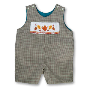 Fall Leaves Lt. Green/Brown Gingham Reversible Smocked Romper 17F 6001 R