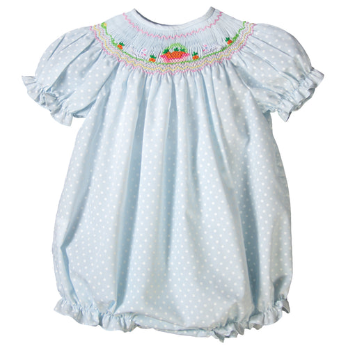 Bunnies & Carrot Basket Lt. Blue Dotted Smocked Girl Bubble 17SP 6009 BUG
