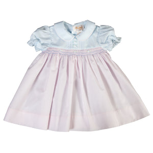Carina Light Blue & Pink Smocked Baby Dress with Peter Pan Collar 18SP 6024 D