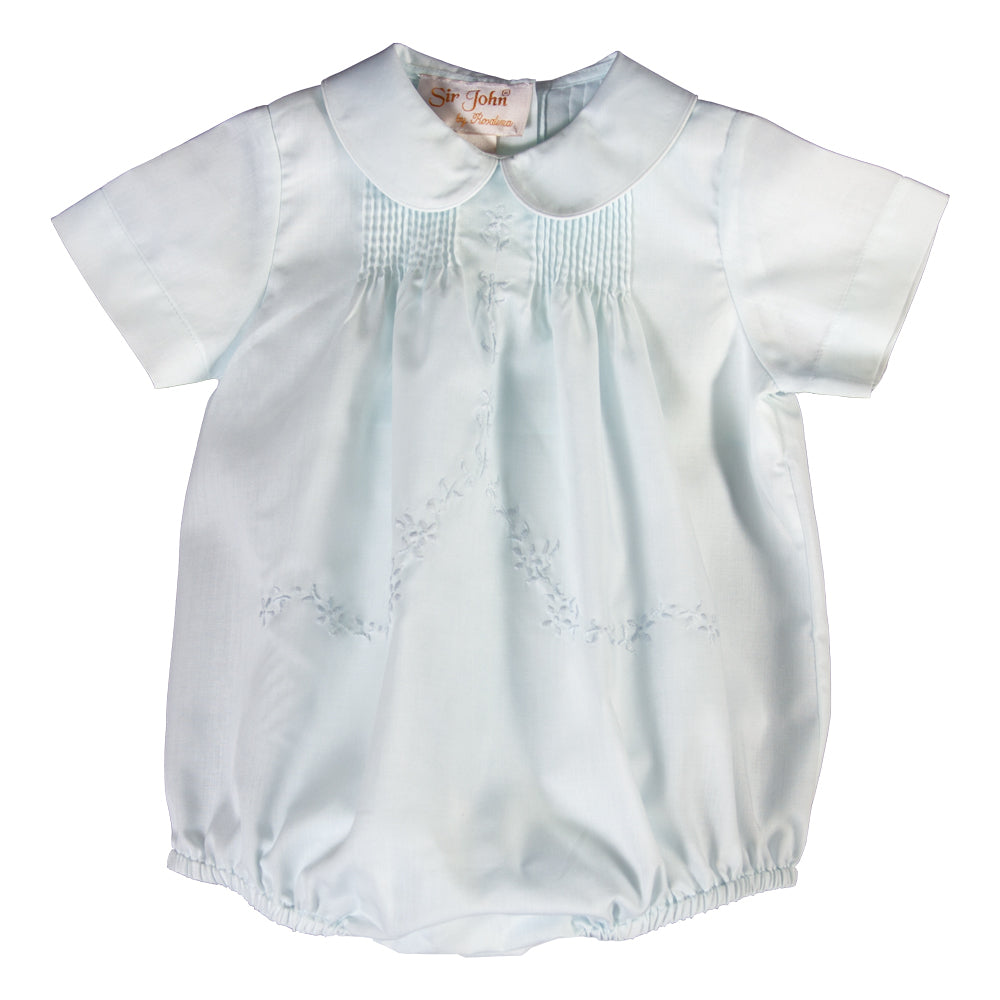 Light Blue Floral Embroidered Boy Bubble w/Pin Tucks 18SP 6037 BUB