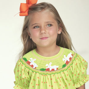 Bunnies & Carrots Apple Green Orange Dotted Smocked Bishop 17SP 6044 A