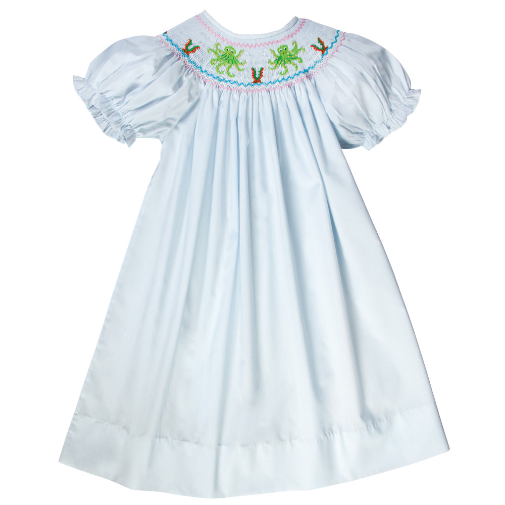 Octopus Dance Lt. Blue Smocked Bishop 17SU 6046 A