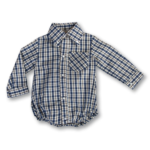 Navy Blue Tan Plaid Boy Bubble w/Button Collar 17F 6048 BUB