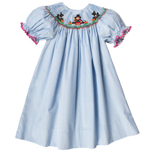 Witch & Cats Blue Gingham w/Pink RicRac Smocked Bishop 17F 6053 A
