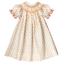 Yellow Orange Polkadot English Smocked Bishop w/RicRac 17F 6060 A