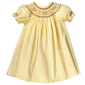 Yellow Gingham English Smocked Bishop 17F 6061 A