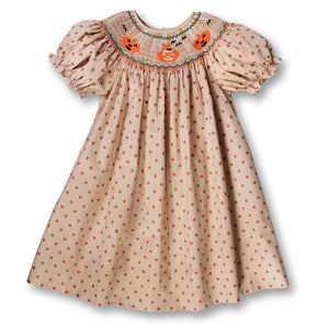 Jack-o'-lanterns Brown Gingham Polka Dot Smocked Bishop 17F 6064 A