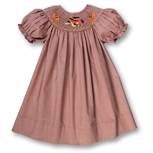 Witch & Jack-o'-lanterns Tiny Brown Gingham Smocked Bishop 17F 6070 A