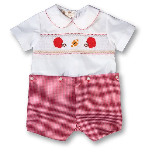 Football Red Gingham Smocked Button-On Short Set 17F 6071 SS1