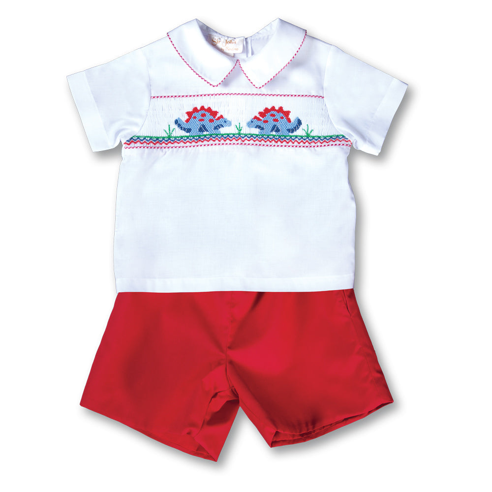 Stegosaurus Friends Red Smocked Short Set 17F 6078 SS2