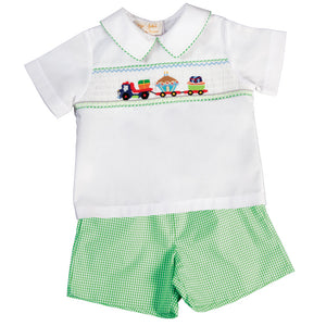 Birthday Haulin' Green Gingham Smocked Short Set 17SU 6080 SS2