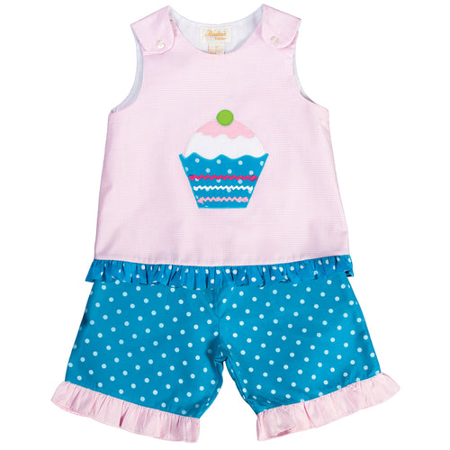 Cupcake Pink Gingham Aqua Blue Polkadot Blouse & Pants Set 17SU 6085 BP2