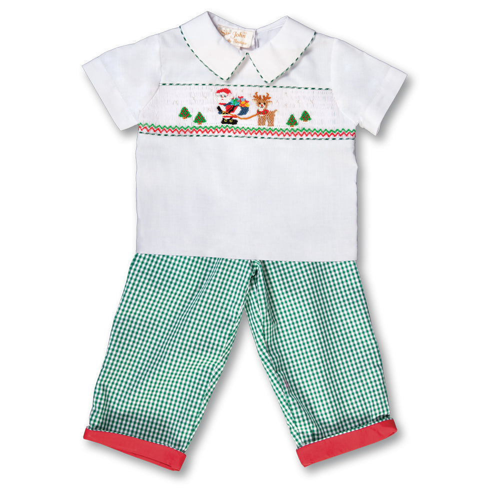 Santa & Rudolph White Green Gingham Smocked Shirt/Pants 17H 6096 SP