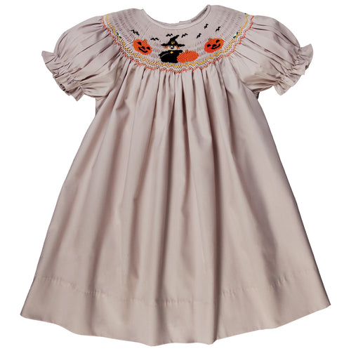 Witch & Pumpkin Tan Smocked Bishop 17F 6098 A