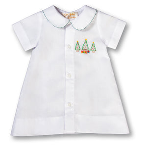 Christmas Trees & Presents Shadow Embroidered Boy White Daygown w/Green Gingham Trim 17H 6100 DGB