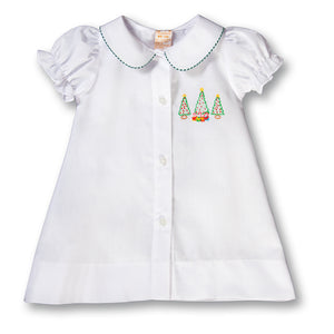 Christmas Trees & Presents Shadow Embroidered Girl White Daygown w/Green Gingham Trim 17H 6100 DGG