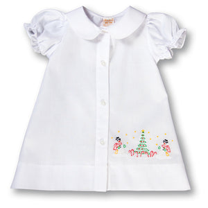 Snowmen Christmas Shadow Embroidered Girl White Daygown 17H 6101 DGG