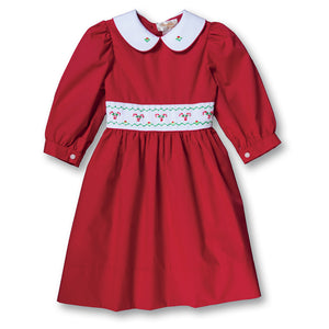 Candy Canes Red Hand Embroidered Long Sleeve Baby Dress w/Collar & Sash 17H 6105 D