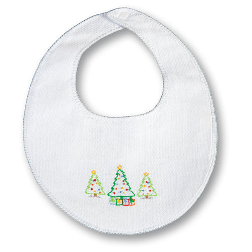 Christmas Trees White with Blue Trim Embroidered Birdseye Bib 17H 6106 BIB BL